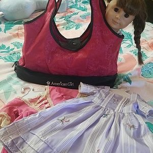 American Girl carry bag and 2 dresses